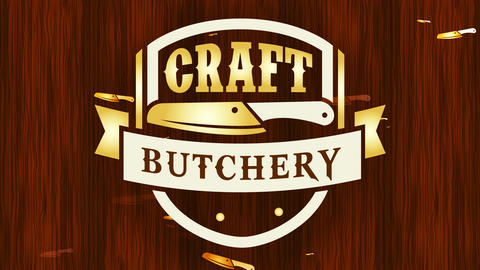 classic yellow skill butchery symbol for quality meat cut specialty over waxed floor texture space Animation