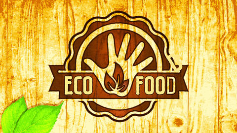 vegan eco food rounded woodcut icon on wooden surface background advocating for health and smart Animation