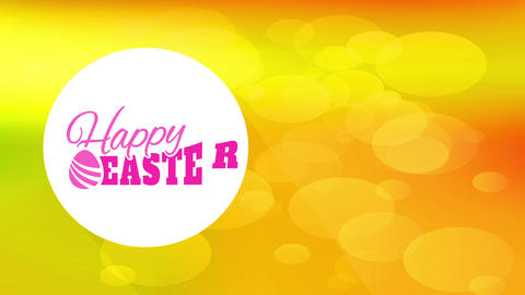 modern happy easter covering cardboard with classic writing inner white curve and up vivid color Animation