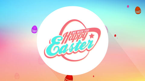 smiling easter neighbours gathering dinner party calling cardboard with abstract egg forming from Animation