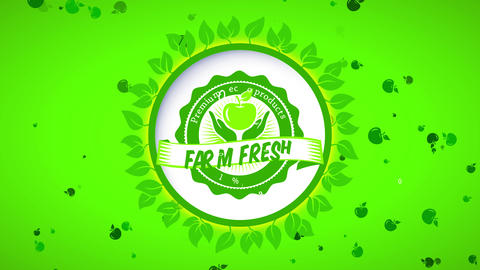 green ad with leaf round for ranch fresh premium 100 percent healthful eco products with Animation