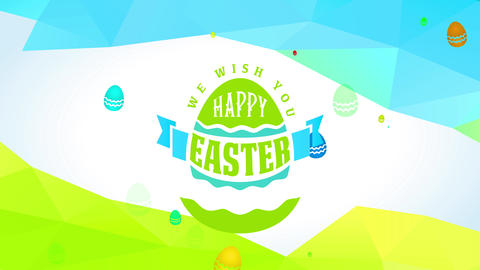 luminous eggs with script we wish you satisfied easter between abstract triangle forms for gala card Animation
