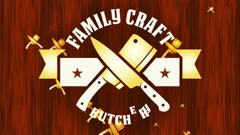 group craft butchery store with gold dagger as associate identity suggesting high quality meat cut Animation