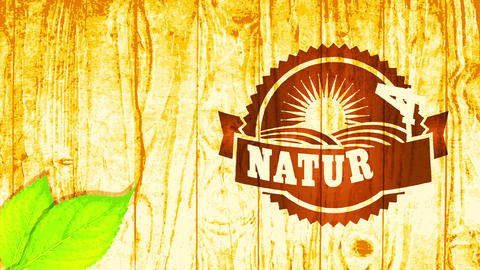 natural vegan nourishment contract trademark concept with wood etching style on finished background Animation