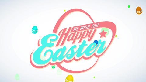 we wish yourself satisfied easter advertisement with 80s futuristic style with an abstract egg Animation