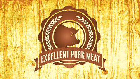 butchers pyrography symbol for excellent pork meat with wheat branches around pigs head over Animation