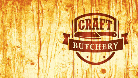 cattle meat butcher knife badge for butchery shop made with pyrography technique on gold shiny Animation