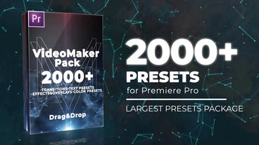 2000+ VideoMaker Presets Pack: Transitions, Text Presets, Effects, Color Presets Plantillas de Premiere Pro