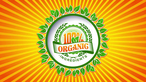 100 percent organic ingredients sign with vivid orange and green colors for sustainability CG動画