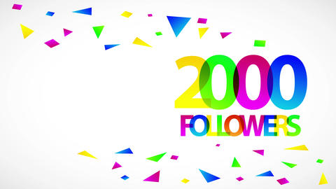 2000 followers festive sign for people giving information with friends forming digital cooperation Animation