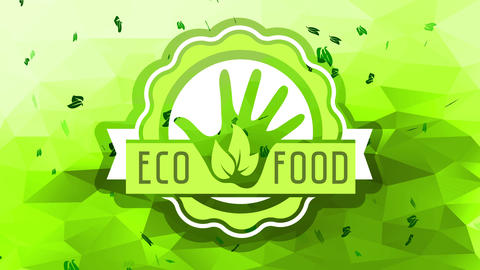 big organic eco food rounded logo with delicate layers appearing indistinctly in the center of a 3d Animation