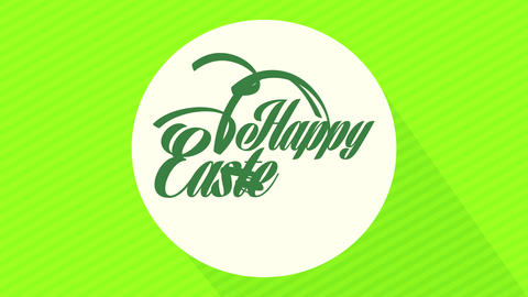 happy easter holiday greeting card with calligraphy on white circle in center of green striped Animation