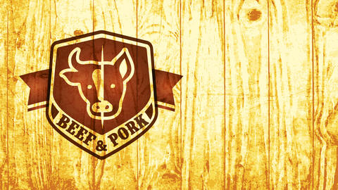 cattle and pork meat bbq tavern concept with classical detailed handling cow and swine heads over Animation