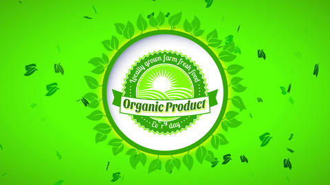 farmers market retailer products offering pure healthful nurture with white round symbol surrounded Animation