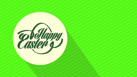 satisfied easter holiday greeting postcard with handwriting on white disk in center of green Animation
