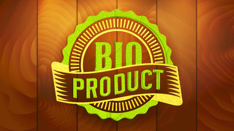 bio tag for products following specific eco friendly quality standards with retro elements on wood Animation