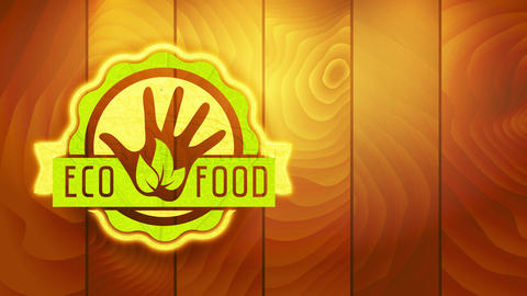 eco nutrient sign with reusable cardboard and foliage texture circular graphical on digitized timber Animation