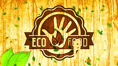 vegan eco nurture circular woodcut symbol on wooden surface background advocating for health and Animation