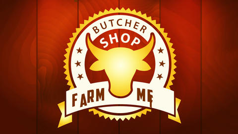 farm meat food industry business butcher store with first class rounded emblem on wooden texture Animation