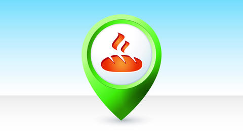 map pin pointer icon with an anchor graphic inside it representing gps location service for vessels Animation