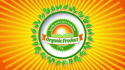 farm fresh organic food products with rounded emblem giving fish eye effect on vivid sunburst Animation
