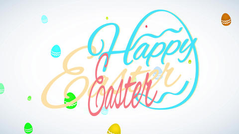 minimalist happy easter calling letter with a popular embryo figure building from cursive font Animation