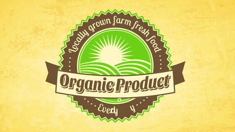 retro round trademark for business offering locally grown farm fresh organic food products on paper Animation