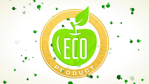 eco product announcement for natural food producers with green leaf forming apple internal recycled Animation