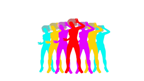 multi-colored models of girls dancing, animation, transparent background Live Action