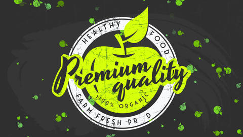 premium healthy vital harvest show with retro texture letters on black blackboard for secure farm Animation