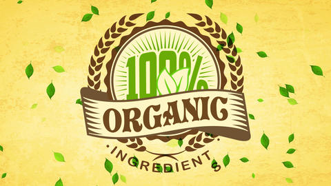 100 percentage organic parts symbol with classical style typeface decorated with a award over Animation