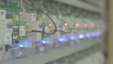 Electrical switches or fuses and relays. Close-up Live Action