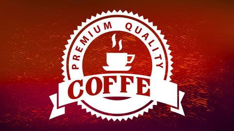 hot coffee cup inside zig zagged edge circle over shiny wrapping paper texture for premium quality Animation
