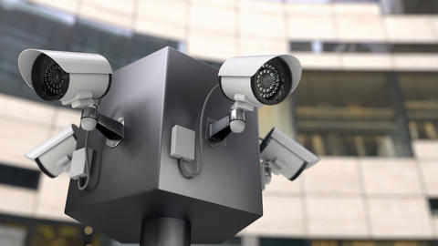 The surveillance CCTV cameras monitoring entrances to the building, 3d animation Live Action