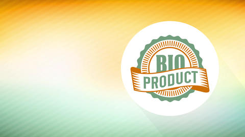 bio products sign for retailing eco friendly aliment deal with 70s style round symbol on patterned Animation