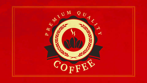 cafe or shop corporate identity with stencil style hot coffee beans graphics inside wavy mark on Animation