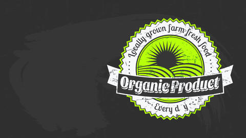 premium quality harvest vegetables farm food products mark on chalkboard background promoting Animation