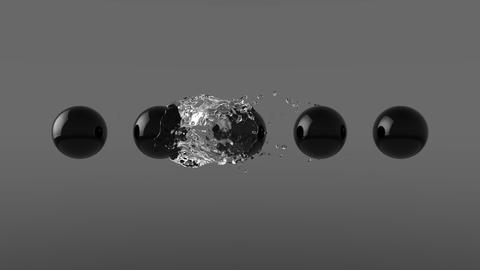 4k Water Orb Envelops Black Spheres Animation