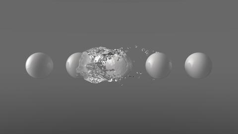 4k Water orb envelops white spheres Animation
