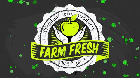 100 percentage organic individual coupon with green letters on blackboard for fancy eco ranch fresh Animation