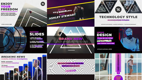Glitch Typography Slides Premiere Proテンプレート