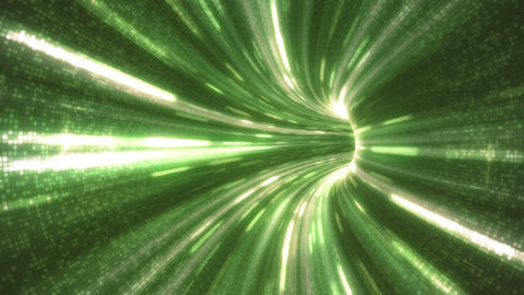 Camera running into an high speed green energy tunnel loop Animation
