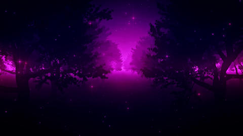 Purple Enchanted Forest by Night VJ Loop Background Animation