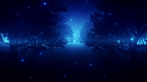 Blue Enchanted Forest by Night VJ Loop Background Animation