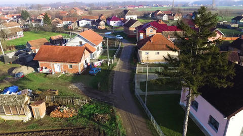 A view of a beautiful little village from the air GIF