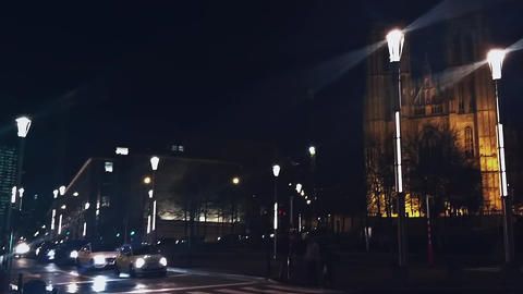 Night views of Brussels, Belgium, architecture and historical buildings Live Action