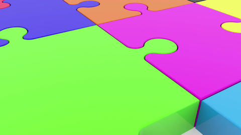 Colorful puzzle pieces on white Animation