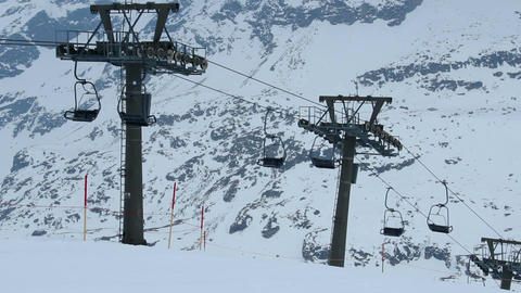 Cableway lifting few tourists to skiing run, tourism crisis, abandoned resort Footage