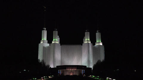 Mormon LDS Washington DC Temple night zoom in 4K 083 Footage