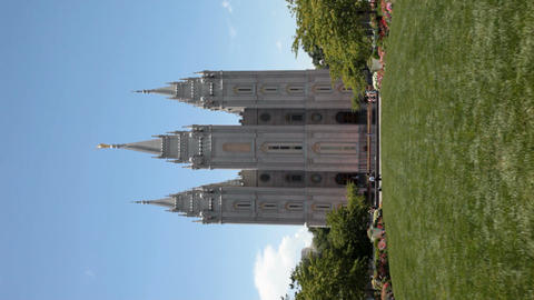 Mormon SLC Temple lawn Verticle P HD 0695 Footage
